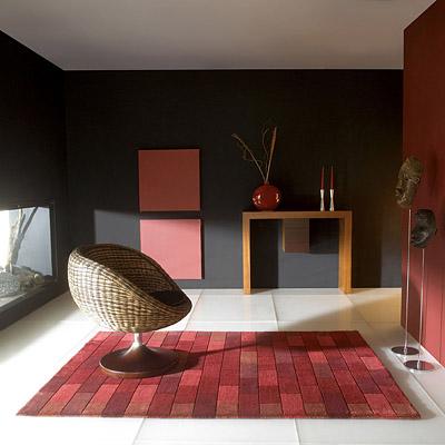 tapis bricks rouge carving