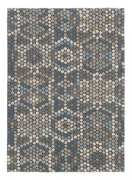 tapis dart - mexico beige et bleu - avalnico
