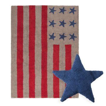 tapis flag american light et coussin stars bleu lorena canal