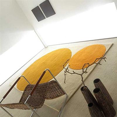 tapis circles carving écru et orange