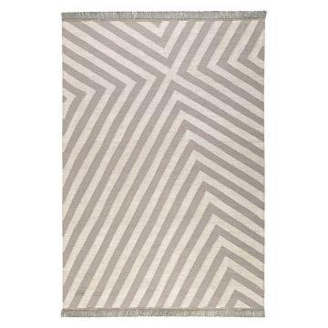 tapis edgy corners taupe et blanc - carpets & co