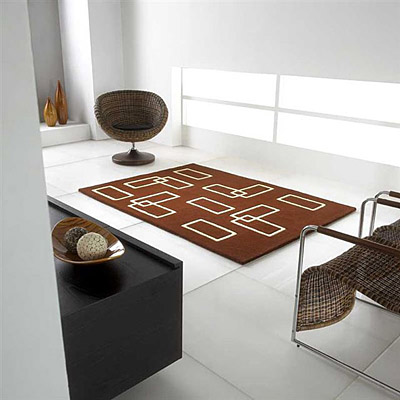 tapis en laine marron carving intersection