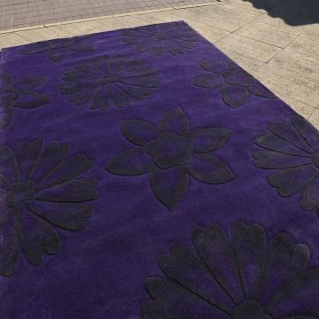 tapis dakota carving bleu