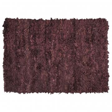 tapis shaggy moderne en coton marron coton