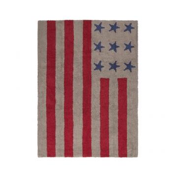 tapis enfant flag american light marron et rouge lorena canals