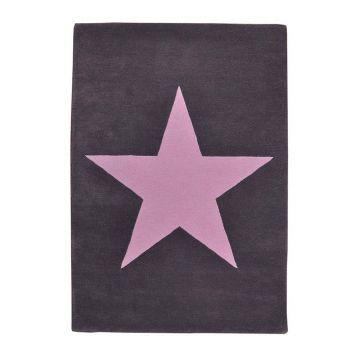 tapis enfant laine star anthracite et rose - lorena canals