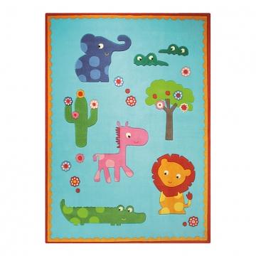 tapis enfant bleu esprit home zoo