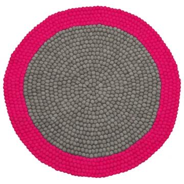 tapis enfant boules de laine neomix rose lilipinso