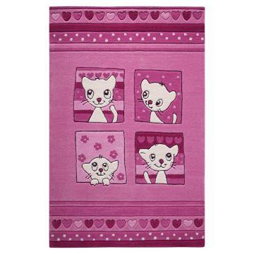 tapis enfant smart kids kitty kat rose tufté main