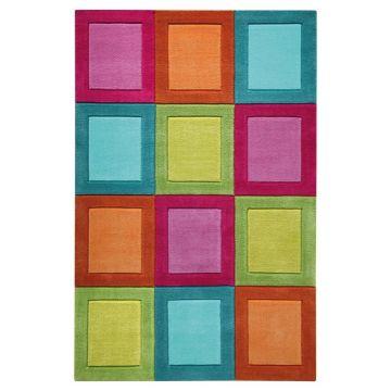 tapis smart kids enfant smart button multicolore tufté main