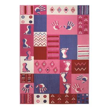 tapis enfant rose hands and feet wecon