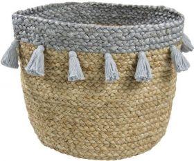 panier de rangement aslesha naturel gris 30xh30 - nattiot