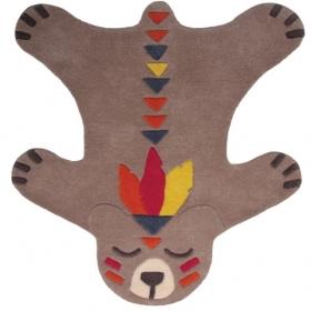 tapis enfant akko l\'ours brun 100x115 - nattiot