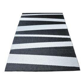tapis de couloir are rayé sofie sjostrom design noir et blanc