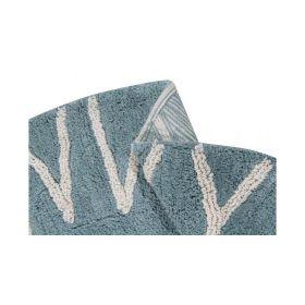 tapis lavable rond abc vintage bleu-naturel