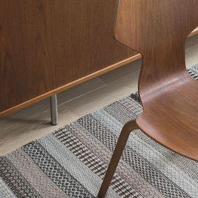 tapis moderne ligne pure laine marron flatweave