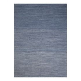 tapis moderne bleu laine flatweave ligne pure