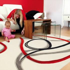 tapis red trace écru à motifs rouge arte espina