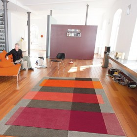 tapis intersection orange arte espina tufté main