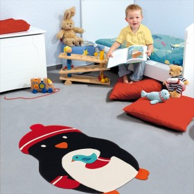 tapis enfant kids pingouin noir arte espina