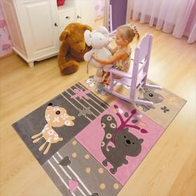 tapis enfant motif animaux kids rose arte espina