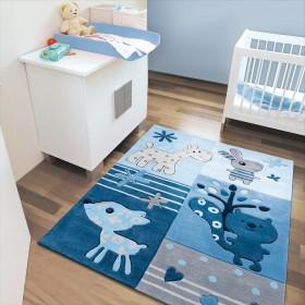tapis enfant kids bleu motif animaux arte espina
