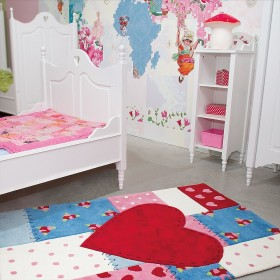 tapis chambre fille kids coeur rouge arte espina