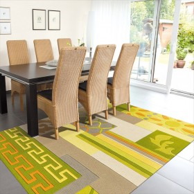 tapis mix match arte espina vert multicolore tufté main