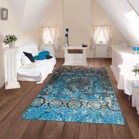 tapis bleu moderne antigua arte espina