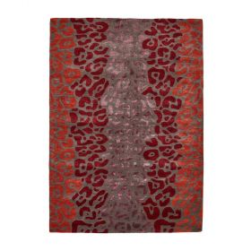 tapis moderne rouge leopard angelo
