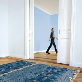 tapis mosaic bleu arte espina en laine et viscose