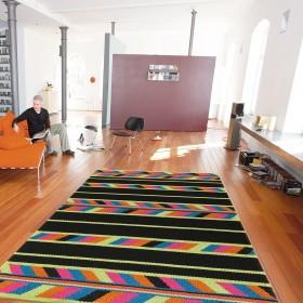 tapis euphoria arte espina en laine noir et multicolore