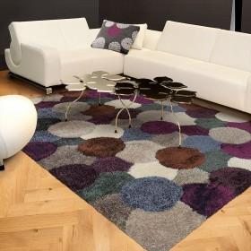 tapis dance shaggy gris et prune arte espina