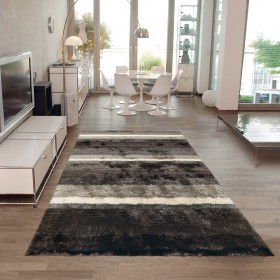 tapis poil long funky gris et blanc arte espina