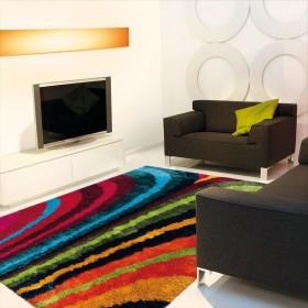 tapis poils longs funky rainbow multicolore arte espina