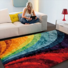 tapis poils longs funky multicolore arte espina