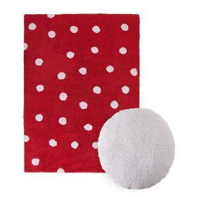 tapis topos rouge et coussin dot blanc lorena canal