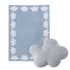 tapis cenefa nubes bleu et coussin cloud bleu lorena canal