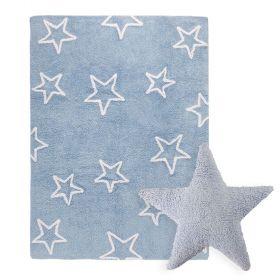 tapis estrellas bleu et coussin stars bleu lorena canal