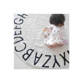 tapis lavable rond abc vintage noir et blanc -naturel