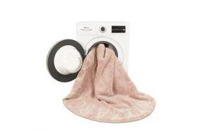 tapis lavable rond abc vintage nude rose -naturel