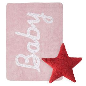 tapis baby petit point rose et coussin stars rouge lorena canal