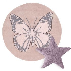 tapis butterfly vintage rose et coussin stars rose lorena canal