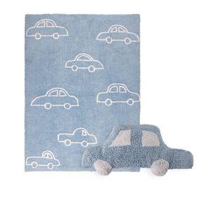 tapis coches bleu et coussin car bleulorena canal