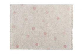 tapis lavable hippy dots naturel s - vintage rose