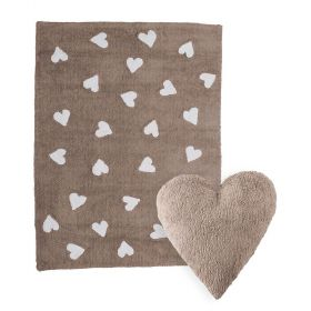 tapis heart marron et coussin heart marron lorena canal