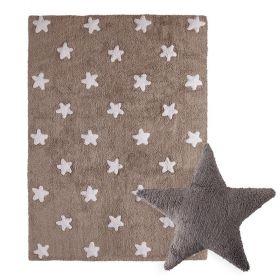 tapis stars marron et coussin stars marron lorena canal