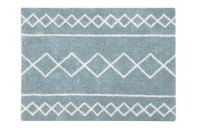 tapis lavable oasis naturel - vintage bleu