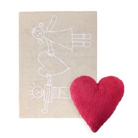 tapis solidaria beige et coussin heart rouge lorena canal