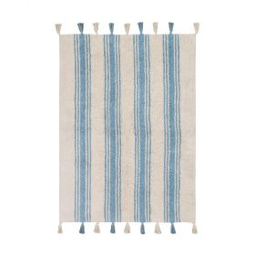 tapis enfant stripes bleu lorenal canals